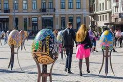 Kijów Ukraina, Kwiecień, - 29, 2016: Instalacja dla wielkanocy jest d Fotografia Royalty Free