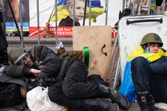 KIJÓW UKRAINA, Luty, - 19, 2014: Mszalni antyrządowi protesty Fotografia Royalty Free