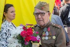 Kijów Ukraina, Maj, - 09, 2016: Weteran Drugi wojna światowa w mundurze Obrazy Stock