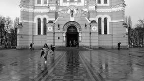 KIJÓW, UKRAINA, MARZEC 2017: - Część fasada Vladimir katedra w Kijów w dżdżystej pogodzie Zdjęcie Royalty Free