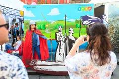 Kijów, Ukraina - mogą 6, 2017 Przygotowania dla Eurowizyjny 2017 na Khreshchatyk Wolność, muzyka kiev Ukraina Zdjęcie Royalty Free