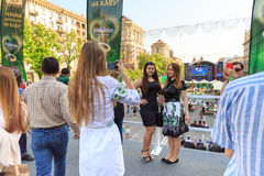 Kijów, Ukraina - mogą 6, 2017 Przygotowania dla Eurowizyjny 2017 na Khreshchatyk Wolność, muzyka kiev Ukraina Fotografia Stock