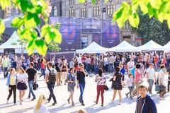 Kijów, Ukraina - mogą 6, 2017 Przygotowania dla Eurowizyjny 2017 na Khreshchatyk Wolność, muzyka kiev Ukraina Zdjęcie Stock