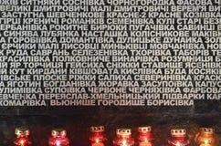 KIJÓW UKRAINA, Nov, - 28, 2015: Kniaź Upamiętniają 1932-1933 Wielkich głodów Zdjęcie Stock