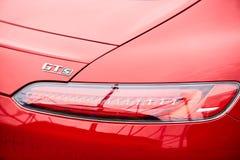 Kijów Ukraina, PAŹDZIERNIK, - 4, 2016: Mercedez Benz gwiazdy doświadczenie Ciekawe serie próbne przejażdżki Logo GTs i ogon Obrazy Stock