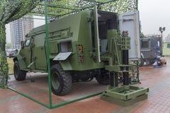 Kijów Ukraina, Październik, - 11, 2017: Nowożytny automatyczny system 120 mm moździerza Ukraiński projekt przy wystawą Obrazy Stock