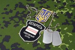 KIJÓW UKRAINA, Sierpień, -, 06, 2015 Belarusian zgłaszać się na ochotnika w Ukrai Obrazy Royalty Free