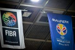 KIJÓW UKRAINA, Wrzesień, - 14, 2018: Logo FIBA Basketb i amblem zdjęcia stock