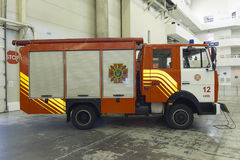 Kijów Ukraina, Wrzesień, - 22, 2015: Nowy pożarniczy silnik w spe Fotografia Royalty Free