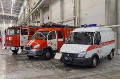 Kijów Ukraina, Wrzesień, - 22, 2015: Samochody strażaccy przy exhibitio Zdjęcia Stock
