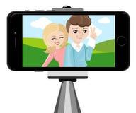 Kij dla selfie Monopod Selfie strzałów kreskówki ilustracja Potomstwo para robi jaźń portretowi Obrazy Royalty Free