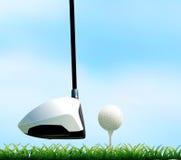 Kij golfowy i piłka golfowa na gazonie ilustracja wektor