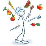 Kij postać jako kucharz żongluje warzywa ilustracja wektor