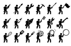 Kij postaci kija mężczyzna używa różnorodnych narzędzia i equipments, ilustracja wektor