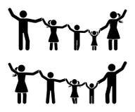 Kij postaci ręki w górę szczęśliwego rodzinnego ikona setu Rodzice i dzieci ma zabawa piktogram wpólnie royalty ilustracja