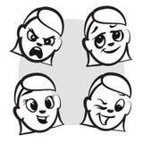 Kij postaci serii emocje - Cztery twarzy Fotografia Stock