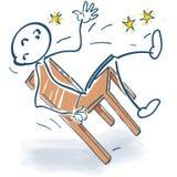 Kij postaci spadki nagle od krzesła ilustracji