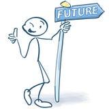Kij postacie z informaci przyszłością i znakiem Zdjęcie Stock