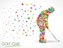 Kija golfowego znak, kija golfowego turnieju pojęcie, płaska koloru okręgu stylu grafika Obrazy Royalty Free