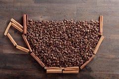 kije cynamonowi ziaren kawy Obraz Royalty Free