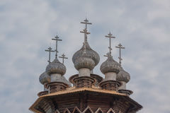 Kiji church on the cloud sky. Background Royalty Free Stock Image
