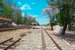 Kijk dicht bij Spoorweg Bangkok Thailand royalty-vrije stock fotografie