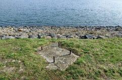 Kijk naar versperring van schilderachtige dam, verzamel water van Iskar-rivier stock afbeelding