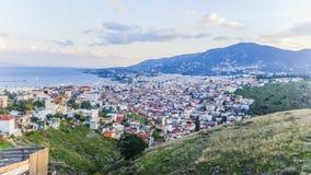 Kijk vanaf bovenkant van mytilene stock foto's