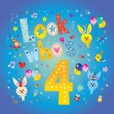 Kijk whos vier - vierde verjaardagskaart royalty-vrije illustratie