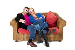 Kijkend 3D televisie Royalty-vrije Stock Fotografie