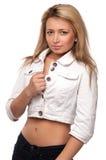 Kijkend blonde geïsoleerdee harenvrouw, Royalty-vrije Stock Fotografie