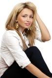 Kijkend blonde harenvrouw, sluit omhoog, geïsoleerdw Royalty-vrije Stock Foto