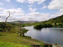 Kijkend onderaan weg door Rydal Water, Lake District Royalty-vrije Stock Afbeelding