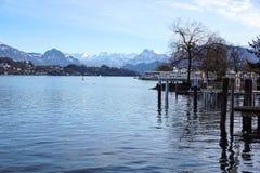 Kijkend over gebieden, landbouwbedrijven en Meer Luzerne in Zwitserland stock foto's