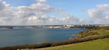 Kijkend over het Geluid, Plymouth Devon het UK stock afbeeldingen
