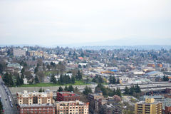 Kijkend over Seattle van Smith Tower-observatiedek, Seattle, Washington Stock Foto