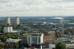 Kijkend van Stratford aan Greenwich, Londen Royalty-vrije Stock Foto