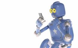Kijkt de Grunge uitstekende robot op celtelefoon het 3d teruggeven Vector Illustratie
