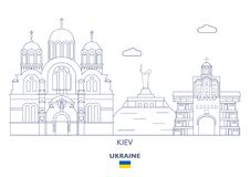 Kijowska miasto linia horyzontu, Ukraina ilustracja wektor