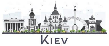 Kijowska Ukraina miasta linia horyzontu z Szarymi budynkami Odizolowywającymi na bielu royalty ilustracja