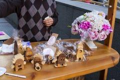 Kijowski kwiatu rynek - pierwszy miasto kwiatu jarmark w Kijów, Ukraina Wrzesień 18, 2016 Zdjęcia Stock