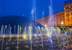 Kijowskie fontanny na majdanie Nezalezhnosti Obrazy Royalty Free