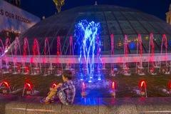 Kijowskie fontanny na majdanie Nezalezhnosti Fotografia Stock
