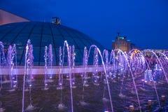 Kijowskie fontanny na majdanie Nezalezhnosti Fotografia Royalty Free