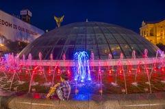 Kijowskie fontanny na majdanie Nezalezhnosti Zdjęcie Stock