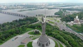 Kijowskiego Ukraina rodina mati pomnikowy zadziwiający widok z lotu ptaka zbiory wideo