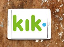 Kik Messenger logo. Logo of Kik Messenger on samsung tablet.  Kik, is a freeware instant messaging mobile app from the Canadian company Kik Interactive Royalty Free Stock Photos