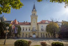 Kikinda City Hall. City Hall building in Kikinda, Serbia, one of the landmarks of the city. Building also holds office of Mayor, town assembly and offices Royalty Free Stock Image