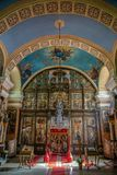 Inside of the Serbian Orthodox Church in Kikinda, Serbia. KIKINDA, SERBIA - APRIL 28, 2018: Inside of the Serbian Orthodox Church, dedicated to St. Nicolas. It stock images