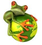 Kikker die de aarde beschermt Royalty-vrije Stock Fotografie